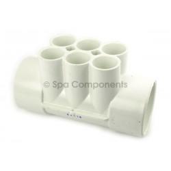 """Water Manifold : 2"""" SOC x 2"""" SOC X (6) 3/4"""" SOC PORTS"""