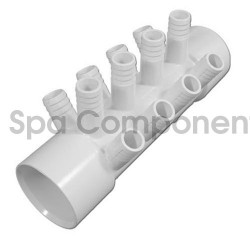 "Water Manifold : 2"" SOC x 2"" SOC X (12) 3/4"" RIBBED BARBS"